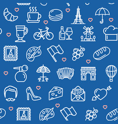 france travel seamless pattern background on a vector image vector image
