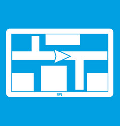 Gps navigation icon white vector
