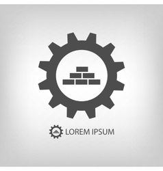 Grey construction logo wih gear wheel and bricks vector
