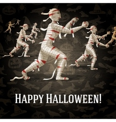 Happy halloween greeting card with walking mummies vector