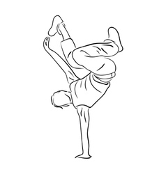 Hip-hop dancer contour sketch vector