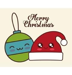 Kawaii sphere and hat of christmas season vector