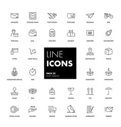 Line icons set post service vector