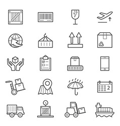 Logistics icons line vector