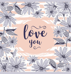 love card valentine greeting cards floral frame vector image vector image