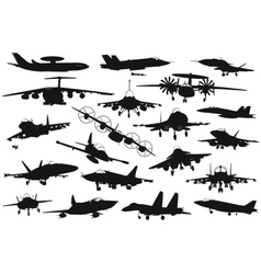 Military aircrafts set vector image