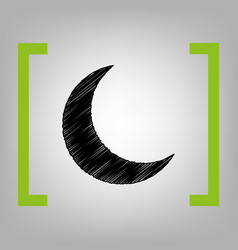 moon sign black scribble vector image