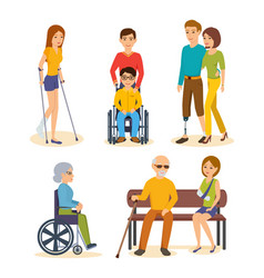 people on crutches carriages prostheses vector image vector image