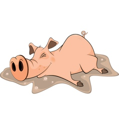 Pig and a pool cartoon vector