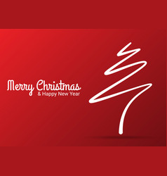 Red abstract merry christmas tree line vector