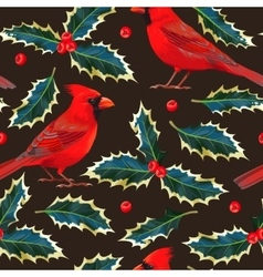 Seamless cardinal and holly vector