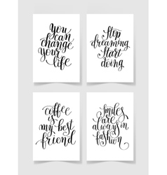 set of four black and white handwritten lettering vector image vector image