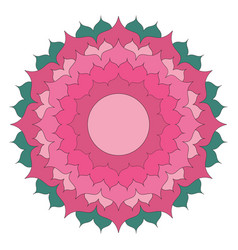 simple lotus flower mandala coloring book colored vector image