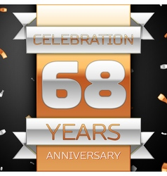Sixty eight years anniversary celebration golden vector