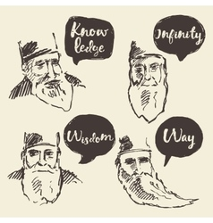 Sketch old sage talk boxes bubbles place your text vector