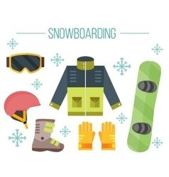 Snowboard equipment- jacket boots helmet vector image