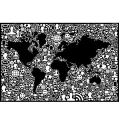 Social media network icon Earth map vector image