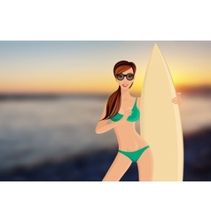 Surfer girl portrait vector