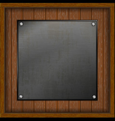 Wooden boards with a metal sheet vector