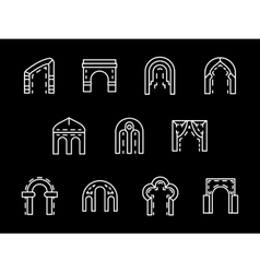 Set of archway styles white line icons vector