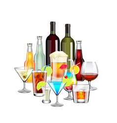 Alcohol drinks and cocktails composition isolated vector