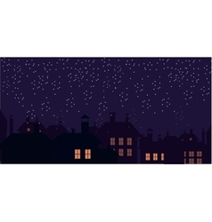 Silhouette of the city and night sky Falling snow vector image