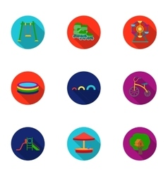 Play garden set icons in flat style Big vector image