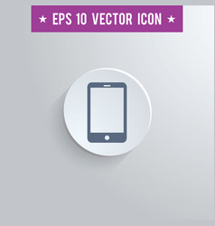 Smartphone symbol icon on gray shaded background vector