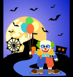 Halloween background with clown and full moon vector