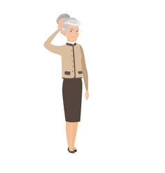 Senior caucasian business woman scratching head vector