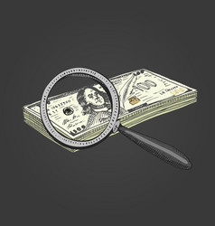 magnifying glass with money engraved hand drawn vector image