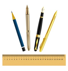 Set of stationery items vector image