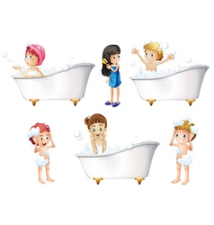 Children taking a bath vector