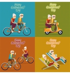Happy grandparents day background poster vector image