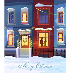 Winter city street with christmas decorated homes vector