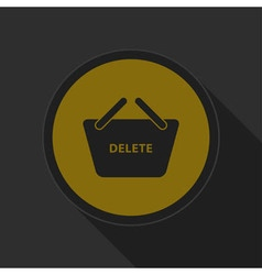 Dark gray and yellow icon - shopping basket delete vector