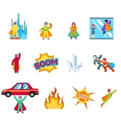 Super human special power icons flat design vector
