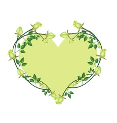 Green roses flowers in a heart shape vector