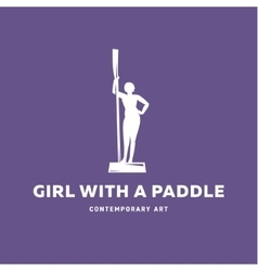 Girl with a paddle statue monument sign vector