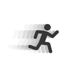 Black running man with motion blur vector image