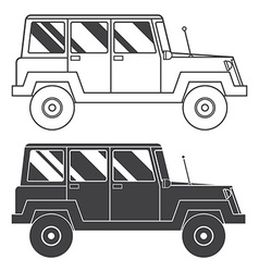 Suv jeep outline and thin line icon vector