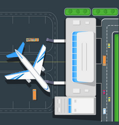 Airport top view concept in flat design vector