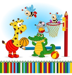 Animals play basketball vector