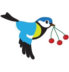 Bird with berries vector image vector image
