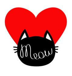 Black cat head silhouette shape meow lettering vector
