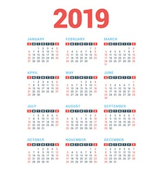 Calendar for 2019 year on white background week vector