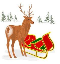 Christmas Reindeer with Santa sleigh vector image