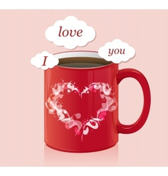 coffee cup with text area Valentines day card vector image vector image
