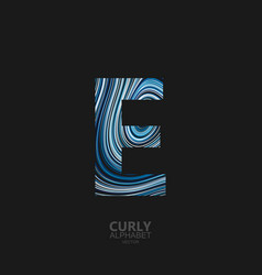 Curly textured letter e vector