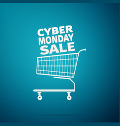 cyber monday sale shopping cart flat icon vector image